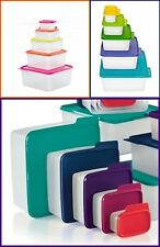 TUPPERWARE KEEP TABS 5 NESTING STORAGE CONTAINERS COLORED TABBED SEALS NEW