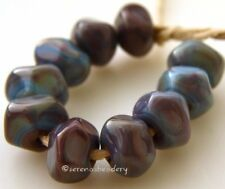 RED COPPER NUGGET Beads * Lampwork Glass sra - tiny faceted rocks