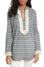 NWT Tory Burch Embellished Cotton Mandarin Collar Paisley Tunic Top Cover Up - 8