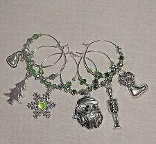 Holiday Christmas Rhinestone Crystals Table Wine Glass Charms Markers Set of 6