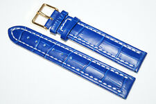 Blue Leather Watch Band Strap 18mm with White Stitching / Alligator Croco Look