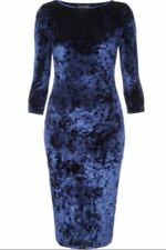 Topshop Crushed Velvet Midi Bodycon Dress - Blue UK 6 8 10 12 14 16 18