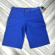 Quicksilver Solid Electric Blue Skate Shorts Daily Casual Knee Length