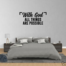 Wall Decal Quote With God All Things Are Possible Christian Vinyl Wall Art JP439