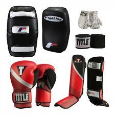 Title MMA Training Set - Boxing Gloves, Muay Thai Pads, Shin Guards, Hand Wraps