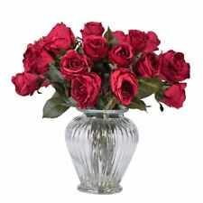 Vickerman 16 in. Rose Arrangement with 24 Roses Silk Flower with Glass Vase