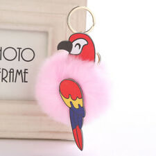 Pompom Fluffy Parrot Keychain Faux Rabbit Fur Women Car Pendant Key Ring Jewelry