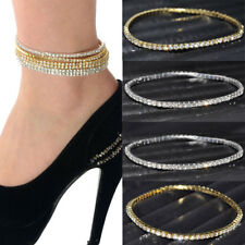 Adjustable Gold Plated Crystal Rhinestone Stretch Chain Anklet Ankle Bracelet SH
