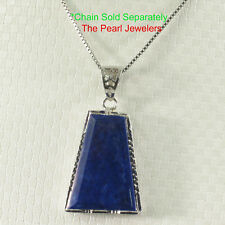 Solid Sterling Silver .925 Genuine Blue Lapis Lazuli Pendant Necklace TPJ