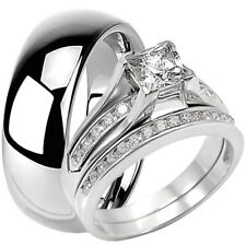 Tungsten 8 MM Band and Solid 925 Sterling Silver CZ Engagement Wedding Ring Set