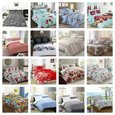 Duvet Cover with Pillow Case Printed Flower Quilt Cover Bedding Set All Sizes