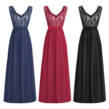 Womens Lace V Neck Gown Prom Long Evening Bridesmaid Cocktail Wedding Dresses