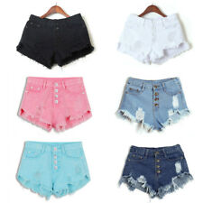 Summer Women High Waisted Washed Ripped Short Mini Jeans Denim Pants Shorts XL