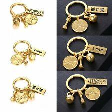 Fashion Gold Tone Dumbbell Weight Lifter Key Ring Key Chain Keychain Lovers Gift