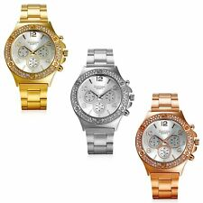 Luxury Mens Womens Stainless Steel Rhinestone Dial Analog Quartz Wrist Watch