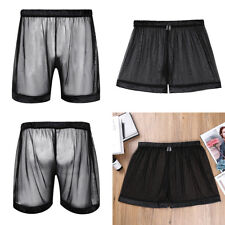 Mens See-through Mesh Underwear Underpants Trunks Soft Lounge Long Boxer Shorts