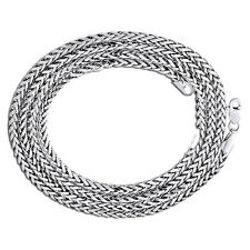 Mens Ladies 10K White Gold 2.5MM Rounded Palm Wheat Chain Necklace 16-22 Inches