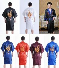Men's Silk Chinese Kimono Dressing Bath Robe Sleepwear Dragon Nightwear Pajamas