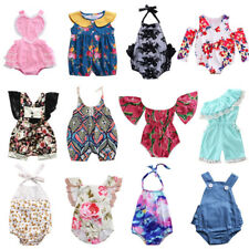 Newborn Infant Baby Girls Clothes Floral Stripes Romper Jumpsuit Summer Outfits