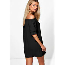 Ladies Off The Shoulder Bardot Button Dress Top New Womens Eveing Shirt