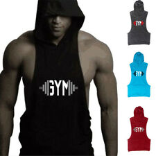 Men's Gym Sleeveless Fitness Muscle Cotton Hoodie Workout Stringer Tank Top Vest