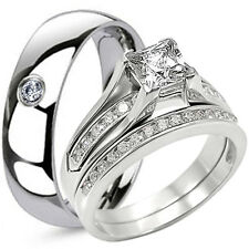 His Hers Solid 925 Sterling Silver Engagement Wedding CZ Ring Set Titanium Band