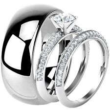 His & Hers 925 Sterling Silver CZ Engagement Wedding Ring Set Tungsten 8 MM Band