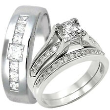 Sterling Silver Engagement Princess Cut CZ Wedding Ring Set Stainless Steel Band