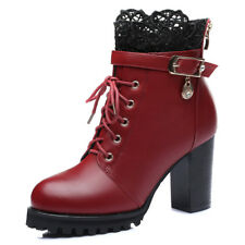 Girls Womens Round Toe Platform Chunky Heel Boots Shoes Zip Ankle Bootie High