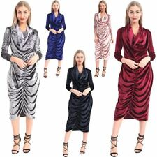 New Ladies Crushed Velvet Long Sleeve Cowl Neck Evening Ruched Midi Dress