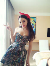 Korean Fashion Sexy Strapless Color Match Smart Waist Party Vintage Dress Woman