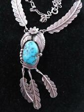 VINTAGE NAVAJO TURQUOISE PENDANT STERLING NECKLACE WITH FEATHER DANGLES