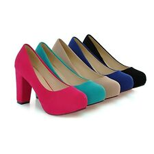 Hot Womens Faux Suede Shoes Sexy Platform Square High Heel Round Toes Pumps S138