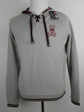 Psycho Bunny Men's Mirage Gray Lace?Neck Double Face Big-Logo  Hoodie