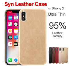 for Apple iPhone X Case PU Back Slim Cover Ultra Thin Syn Leather Shell hulle PC