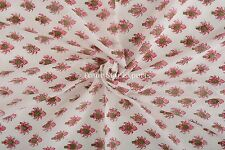 Indian Cotton Voile Hand Block Print Fabric Running Fabric Ethnic Natural Throw