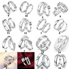 Hot 1 Pair Romantic Heart Crystal Couple Rings Lovers Her and His Promise Ring