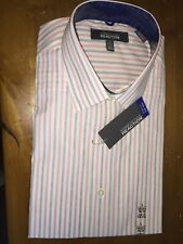 Mens Shirt Kenneth Cole Slim Fit Stripe CottonNon Iron Long Sleeve