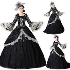 Victorian Medieval Renaissance Costume Women Black Gothic Dress Trail Ball Gown