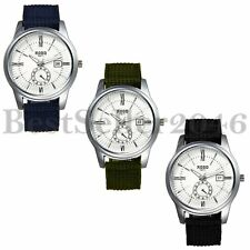 Business Men's Date Dial Nylon Band Casual Calendar Quartz Analog Wrist Watch