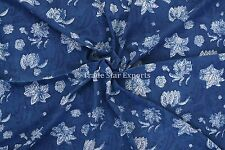 Indigo Block Print Cotton Fabric By Yard Indian Natural Sanganeri Fabric Throw