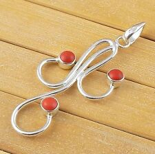 Synthetic Coral Cabochon 4mm Round Shape Gemstone 925 Sterling Silver Pendant