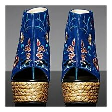 High Heel Embroidered Shoes Slipsole Sandals   blue
