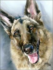 German Shepherd GSD Dog Art Print Watercolor Painting Signed Judith Stein GO-GO