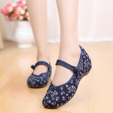 Old Beijing Shoes Slipsole Small Flower National Style Embroidered Shoes blue