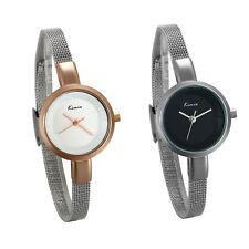 Women's Simple Dial Ultra Thin Stainless Steel Strap Quartz Analog Wrist Watch