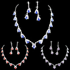 FX- Women Dazzling Cubic Zirconia Necklace Crystal Pendant Earrings Bridal Popul