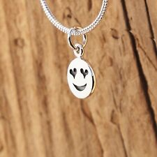 Sterling Silver Tiny Heart Eyes Emoji Charm Love Necklace Valentine Gift Boxed