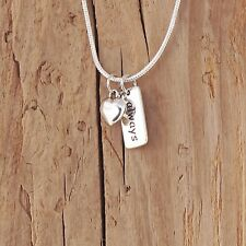 Sterling Silver Heart Always Forever Charm Love Necklace Valentine Gift Boxed