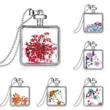 Real Dried Pressed Flower Pendant Necklace Square Glass Silver Floating Locket